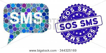 Mosaic Sms Icon And Grunge Stamp Seal With Sos Sms Text. Mosaic Vector Is Composed From Sms Pictogra