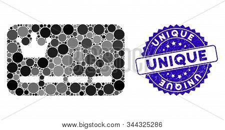 Collage Vip Card Icon And Rubber Stamp Seal With Unique Text. Mosaic Vector Is Composed With Vip Car