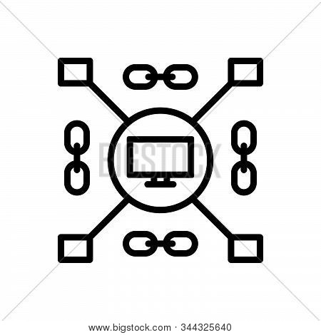Black Line Icon For Computerized Cyber Monitor Connect