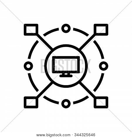 Black Line Icon For Concatenated Classified Grouped