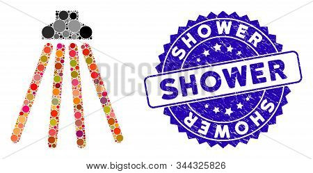 Collage Shower Icon And Grunge Stamp Watermark With Shower Text. Mosaic Vector Is Composed With Show