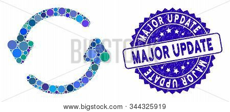 Mosaic Update Icon And Grunge Stamp Watermark With Major Update Phrase. Mosaic Vector Is Composed Fr