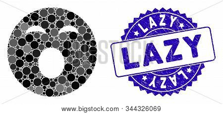 Mosaic Sleepy Smiley Icon And Corroded Stamp Watermark With Lazy Text. Mosaic Vector Is Formed With