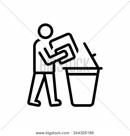 Black Line Icon For Declutter Dustbin People Throw
