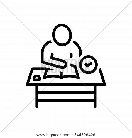 Black Line Icon For Coursework Desk People Syllabus Studies Course Work
