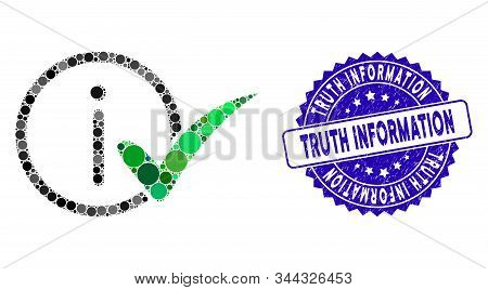 Mosaic Truth Information Icon And Rubber Stamp Seal With Truth Information Phrase. Mosaic Vector Is