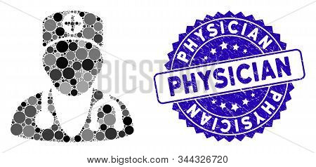 Collage Physician Icon And Grunge Stamp Seal With Physician Caption. Mosaic Vector Is Created With P