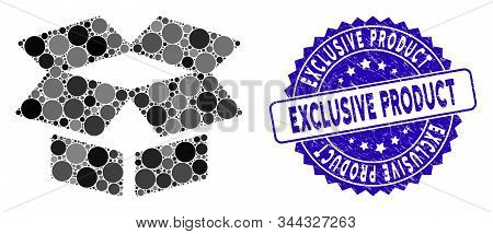 Mosaic Open Box Icon And Grunge Stamp Seal With Exclusive Product Phrase. Mosaic Vector Is Formed Wi