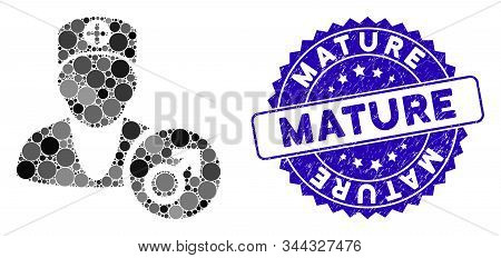Mosaic Urology Doctor Icon And Grunge Stamp Watermark With Mature Caption. Mosaic Vector Is Formed W