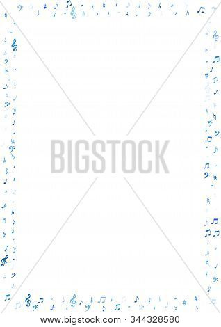 Blue Flying Musical Notes Isolated On White Background. Stylish Musical Notation Symphony Signs, Not