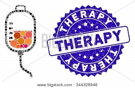 Mosaic Therapy Dropper Icon And Distressed Stamp Seal With Therapy Text. Mosaic Vector Is Formed Wit