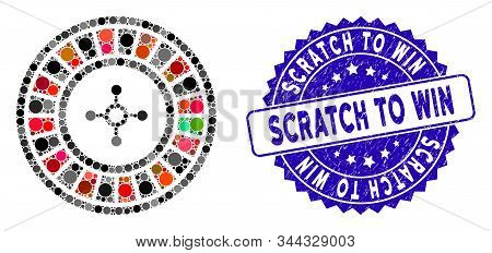 Mosaic Roulette Icon And Grunge Stamp Seal With Scratch To Win Phrase. Mosaic Vector Is Formed From