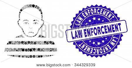 Mosaic Prisoner Icon And Corroded Stamp Seal With Law Enforcement Text. Mosaic Vector Is Created Wit