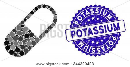 Mosaic Medication Granule Icon And Rubber Stamp Watermark With Potassium Phrase. Mosaic Vector Is Cr