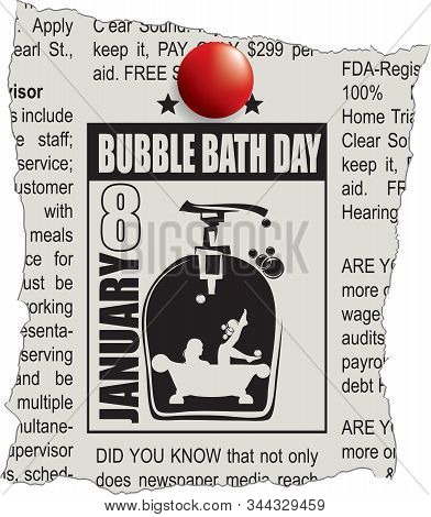 Fragment Of Classifieds Newspaper With Bubble Bath Day