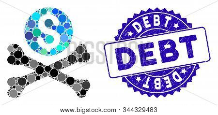 Mosaic Mortal Debt Icon And Grunge Stamp Seal With Debt Phrase. Mosaic Vector Is Composed With Morta