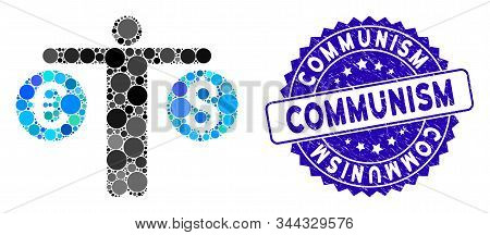 Collage Person Compares Currency Icon And Distressed Stamp Seal With Communism Phrase. Mosaic Vector