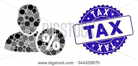 Mosaic User Tax Percent Icon And Corroded Stamp Seal With Tax Phrase. Mosaic Vector Is Formed With U