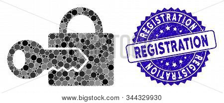 Mosaic Registration Key Icon And Rubber Stamp Watermark With Registration Phrase. Mosaic Vector Is C
