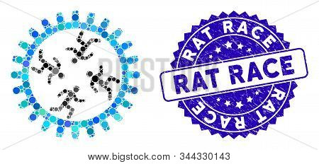 Mosaic Rat Race Gear Icon And Corroded Stamp Watermark With Rat Race Text. Mosaic Vector Is Designed
