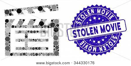 Mosaic Movie Clap Icon And Rubber Stamp Seal With Stolen Movie Phrase. Mosaic Vector Is Composed Wit