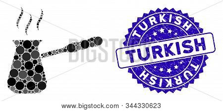Mosaic Turkish Coffee Icon And Distressed Stamp Seal With Turkish Phrase. Mosaic Vector Is Designed