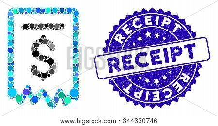 Mosaic Payment Receipt Icon And Corroded Stamp Seal With Receipt Caption. Mosaic Vector Is Created W