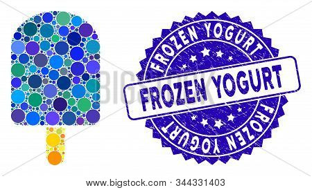 Mosaic Ice Cream Icon And Grunge Stamp Seal With Frozen Yogurt Text. Mosaic Vector Is Created With I