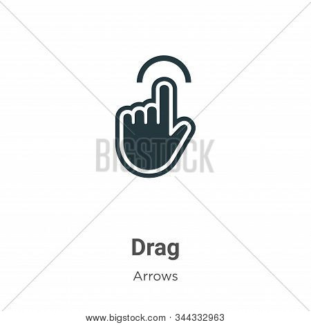 Drag Vector Icon On White Background. Flat Vector Drag Icon Symbol Sign From Modern Arrows Collectio