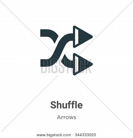 Shuffle Vector Icon On White Background. Flat Vector Shuffle Icon Symbol Sign From Modern Arrows Col