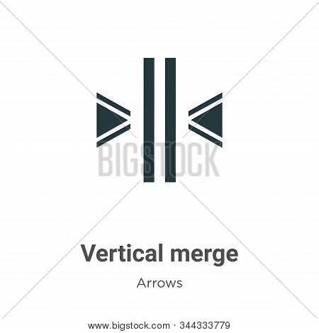 Vertical merge icon isolated on white background from arrows collection. Vertical merge icon trendy