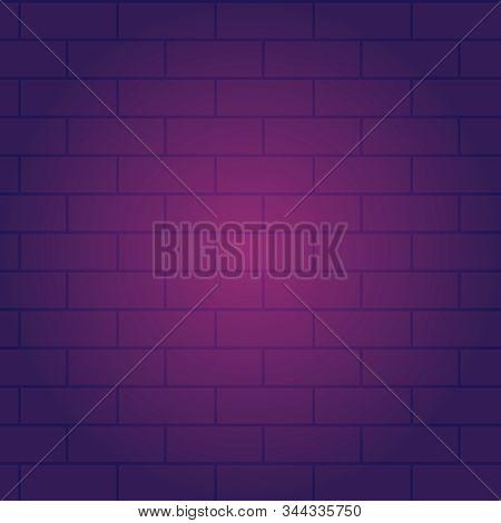 Brickwork Texture In Violet Color. Abstract Brickwork, Background Image. Vector Illustration.