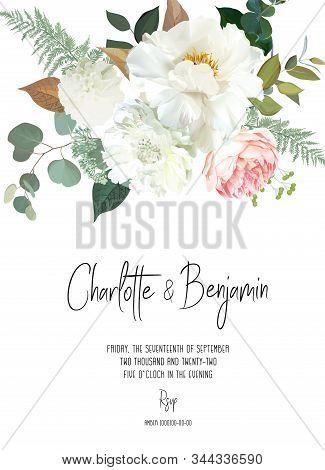 Retro Delicate Vector Design Flower Card. Creamy Peony, White Dahlia, Pink Garden Rose, Eucalyptus,