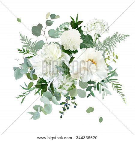 Silver Sage Green And White Flowers Vector Design Spring Herbal Bouquet. Ivory Peony, Dahlia, Tulip,
