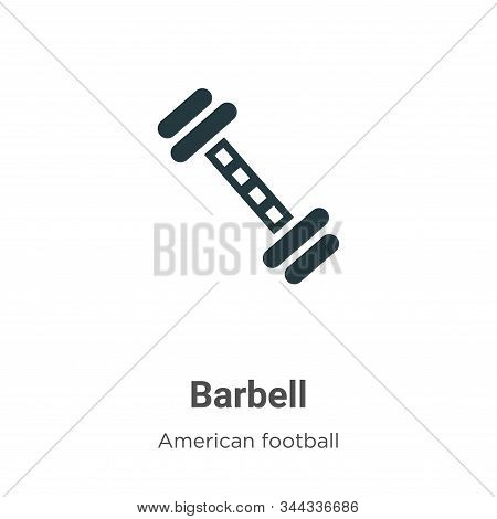 Barbell Vector Icon On White Background. Flat Vector Barbell Icon Symbol Sign From Modern American F