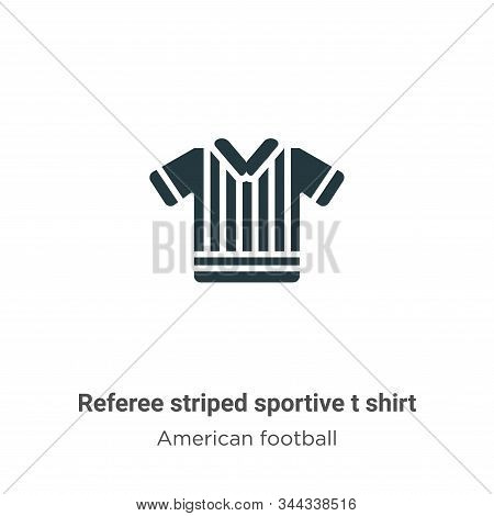 Referee Striped Sportive T Shirt Vector Icon On White Background. Flat Vector Referee Striped Sporti