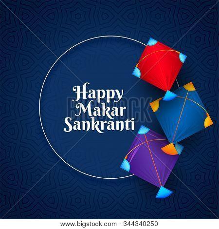 Colorful Kites Background For Makar Sankranti Festival