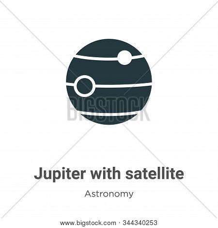 Jupiter with satellite icon isolated on white background from astronomy collection. Jupiter with sat