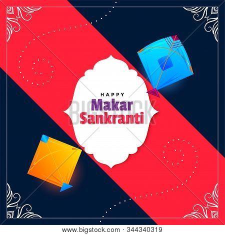 Happy Makar Sankranti Wishes Festival Card Design