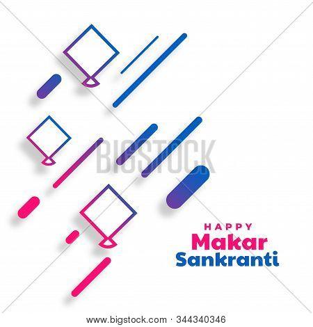 Happy Makar Sankranti Modern Kites Festival Background