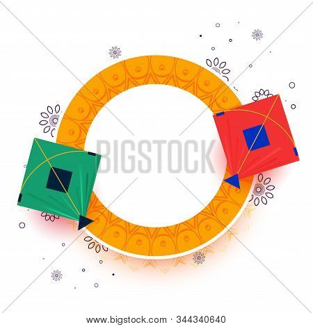 Kites On Yellow Frame With Text Space Design