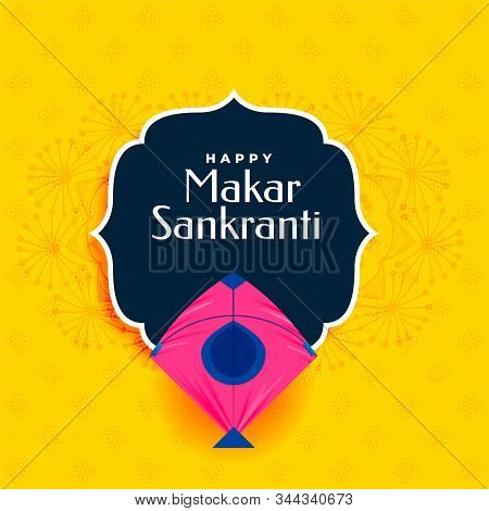 Happy Makar Sankranti Yellow Background With Pink Kite