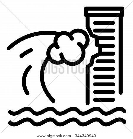Tsunami Wave On Skyscraper Icon. Outline Tsunami Wave On Skyscraper Vector Icon For Web Design Isola
