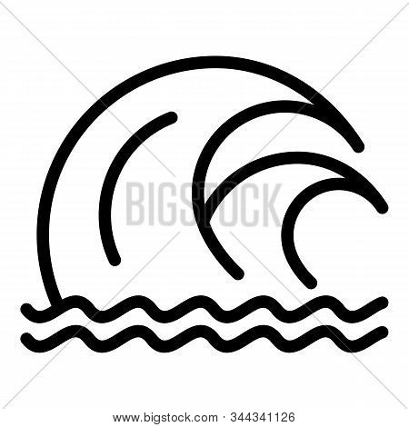 Double Tsunami Wave Icon. Outline Double Tsunami Wave Vector Icon For Web Design Isolated On White B