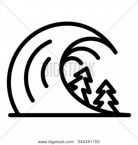 Disaster Tsunami Icon. Outline Disaster Tsunami Vector Icon For Web Design Isolated On White Backgro