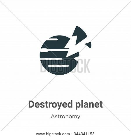 Destroyed planet icon isolated on white background from astronomy collection. Destroyed planet icon