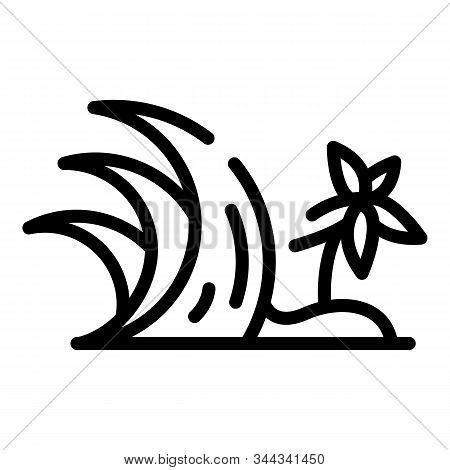 Palm Tree Tsunami Icon. Outline Palm Tree Tsunami Vector Icon For Web Design Isolated On White Backg