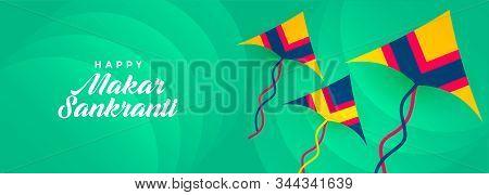 Flying Kites Banner For Makar Sankranti Festival