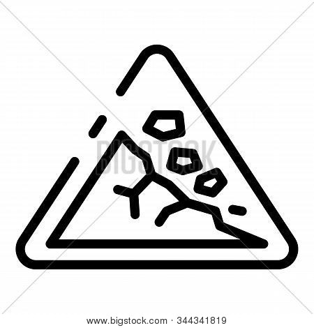 Rockfall Road Sign Icon. Outline Rockfall Road Sign Vector Icon For Web Design Isolated On White Bac