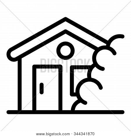 House Under Rockfall Icon. Outline House Under Rockfall Vector Icon For Web Design Isolated On White